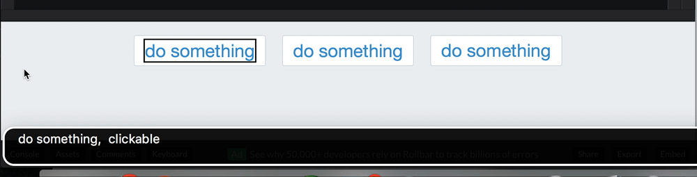 "The first button, marked up with a div, is described as ""do something, clickable"" by VoiceOver"