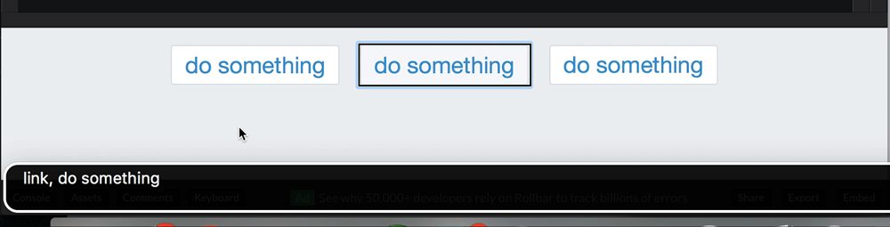 "The second button, marked up with an anchor, is described as ""link, do something"" by VoiceOver"
